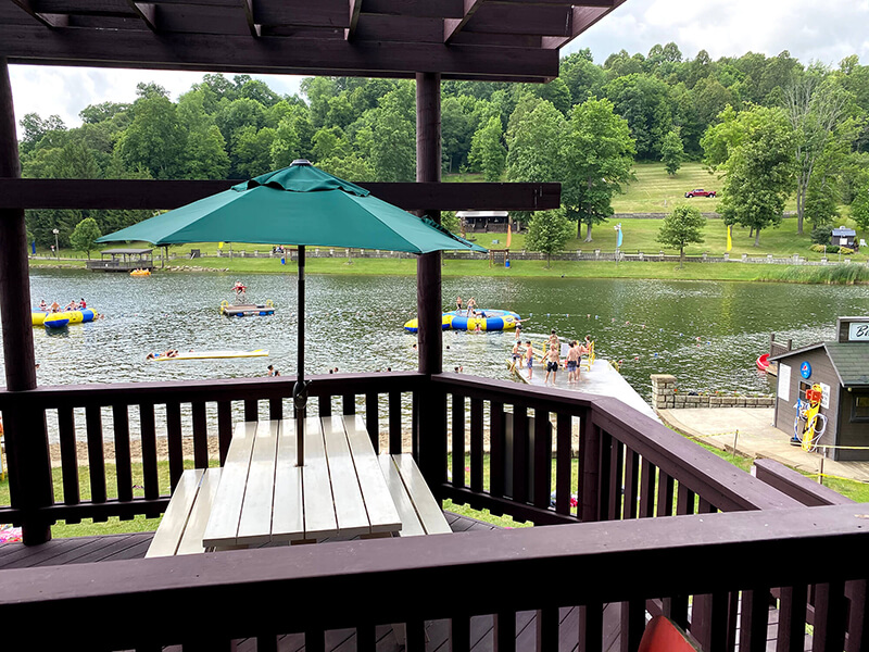 slides and tubes on a lake