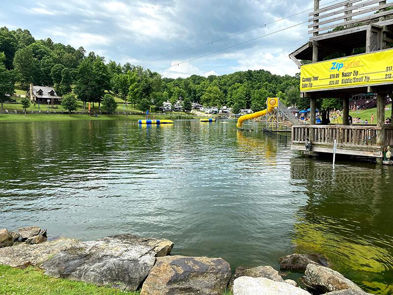 water slides on the lake