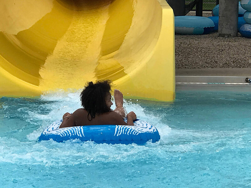 going down a water slide